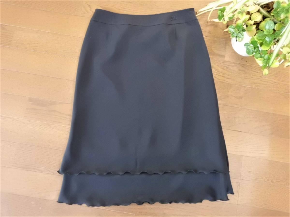 超美品*courreges クレージュ*裾フレアの膝丈スカート濃紺(64)セレモニー♪