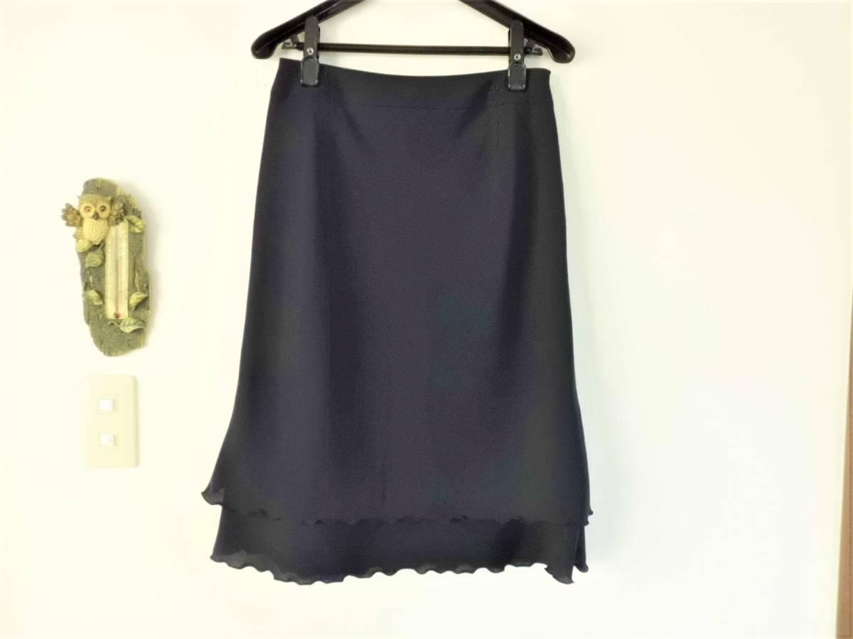 超美品*courreges クレージュ*裾フレアの膝丈スカート濃紺(64)セレモニー♪_画像2