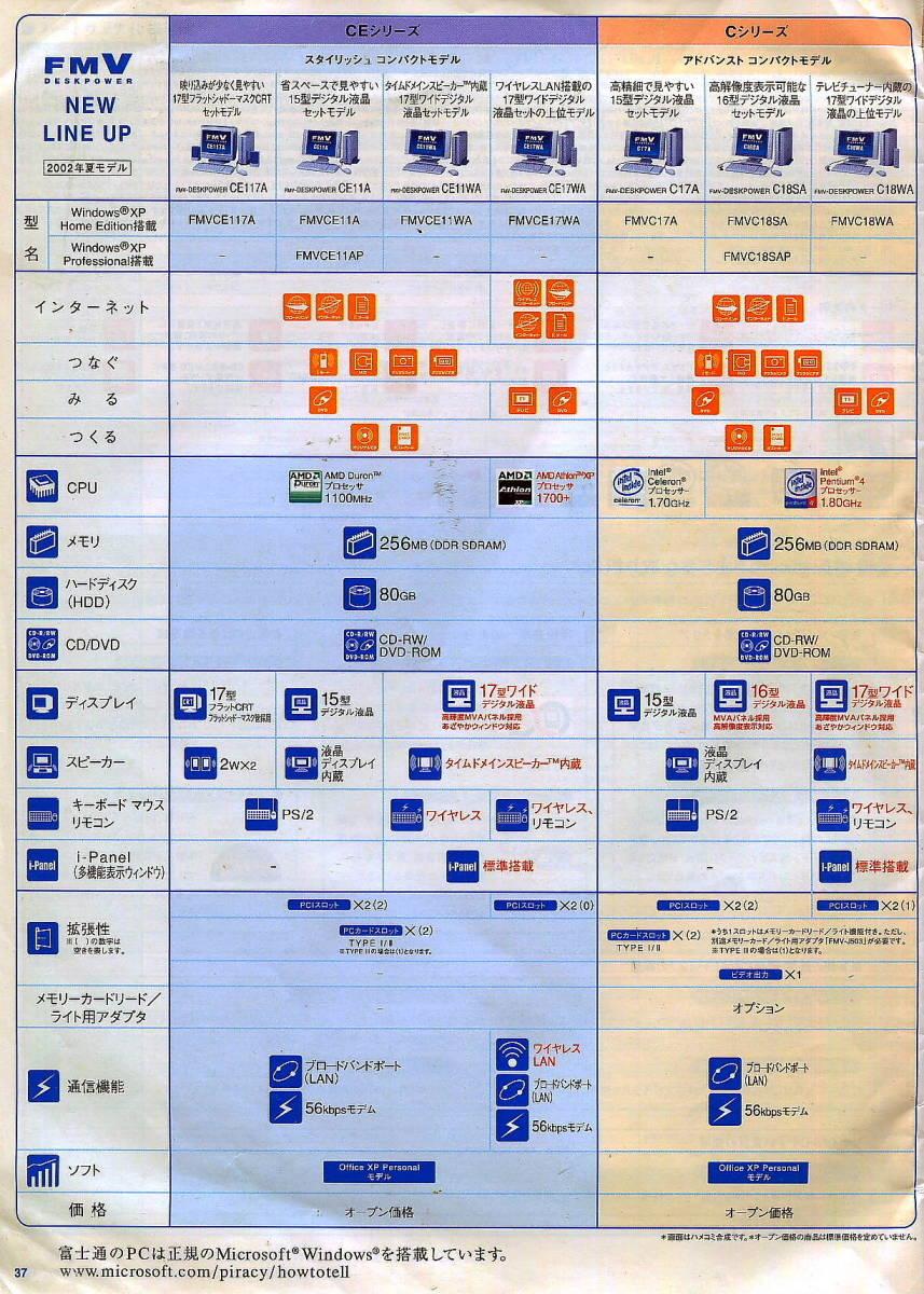 【富士通】2002年6月版・FMV-DESKPOWERのカタログ(表紙:木村拓哉)_本文から
