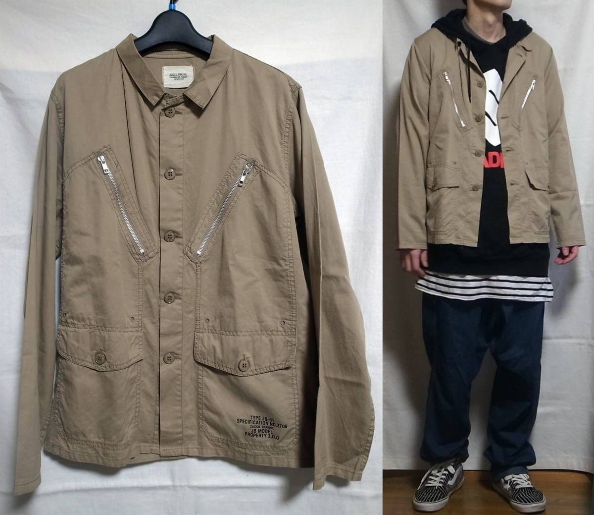 ☆That buy☆Zucca TRAVAIL Army Shirt beige size cut army shirt work shirt work shirt beige size 1