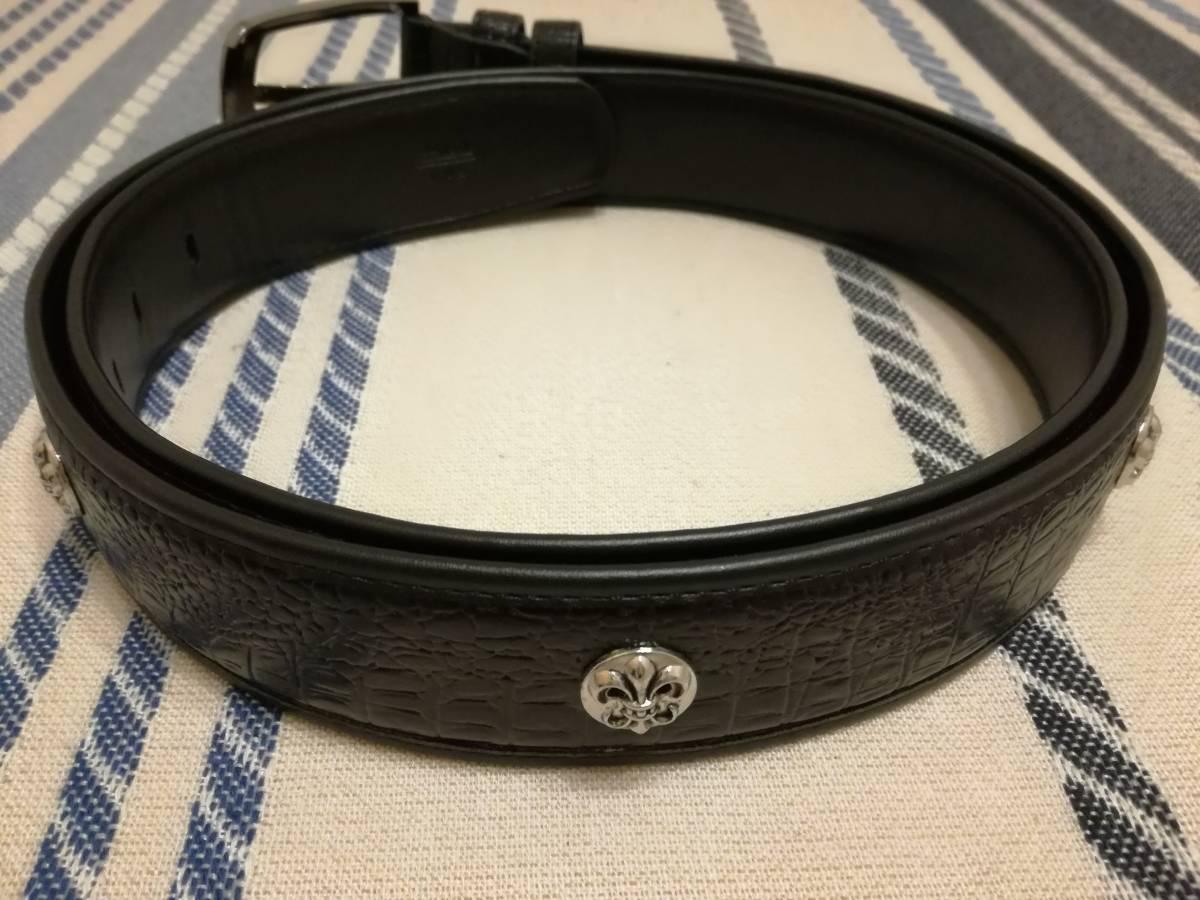 クロムハーツ風 メンズベルト レザー 本革125cm ブラック ノベルティ type1_画像2