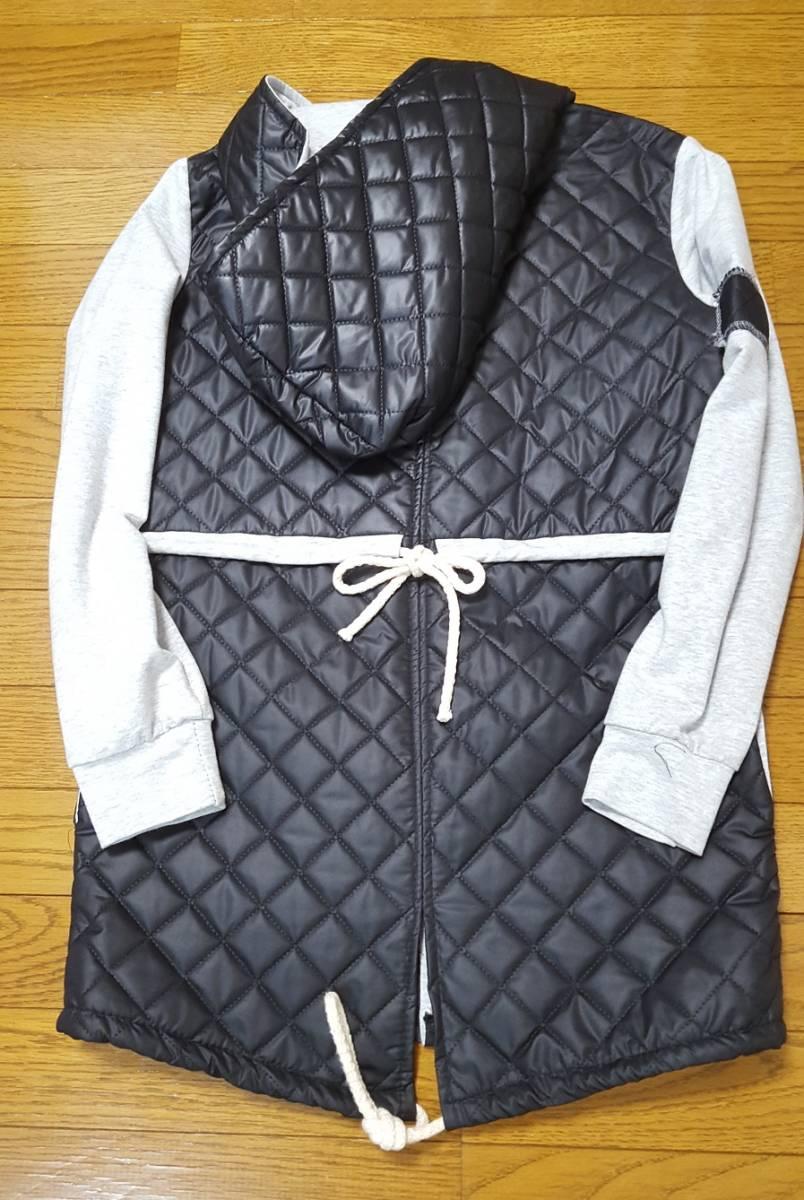 【良品】スウェット&キルティングコート グレー&紺色 フード付き made in Italy