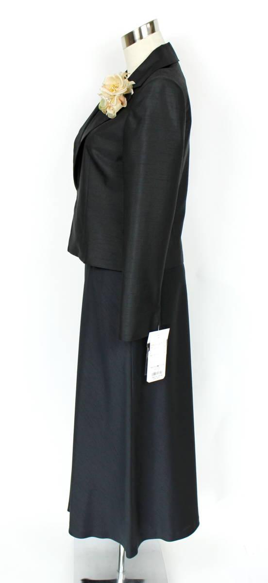 新品 9号 8.1万 ラピーヌ スーツ 黒 結婚式 パーティー セットアップ ジャケット+スカート レディース 日本製 軽い カラーフォーマル_画像3
