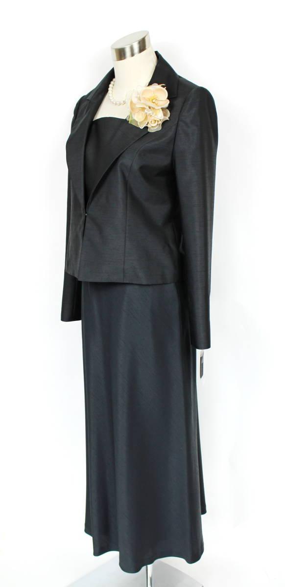 新品 9号 8.1万 ラピーヌ スーツ 黒 結婚式 パーティー セットアップ ジャケット+スカート レディース 日本製 軽い カラーフォーマル_画像2