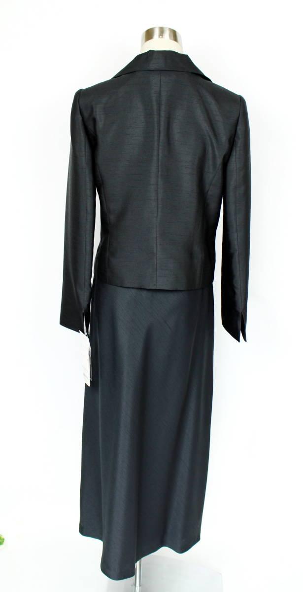 新品 9号 8.1万 ラピーヌ スーツ 黒 結婚式 パーティー セットアップ ジャケット+スカート レディース 日本製 軽い カラーフォーマル_画像4
