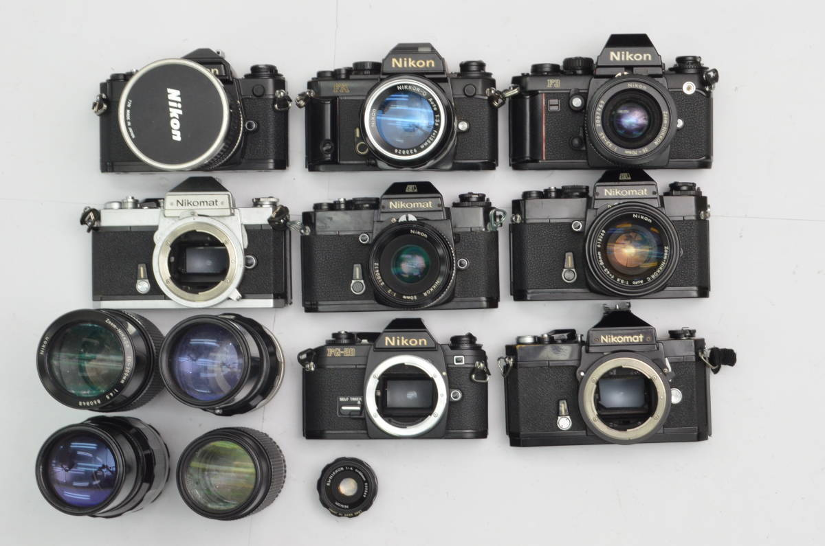 S60 Nikon ニコン FA FT2 F3 FG-20 EL FTN 等 一眼レフカメラ フィルムカメラ レンズ など まとめて おまとめ 大量セット