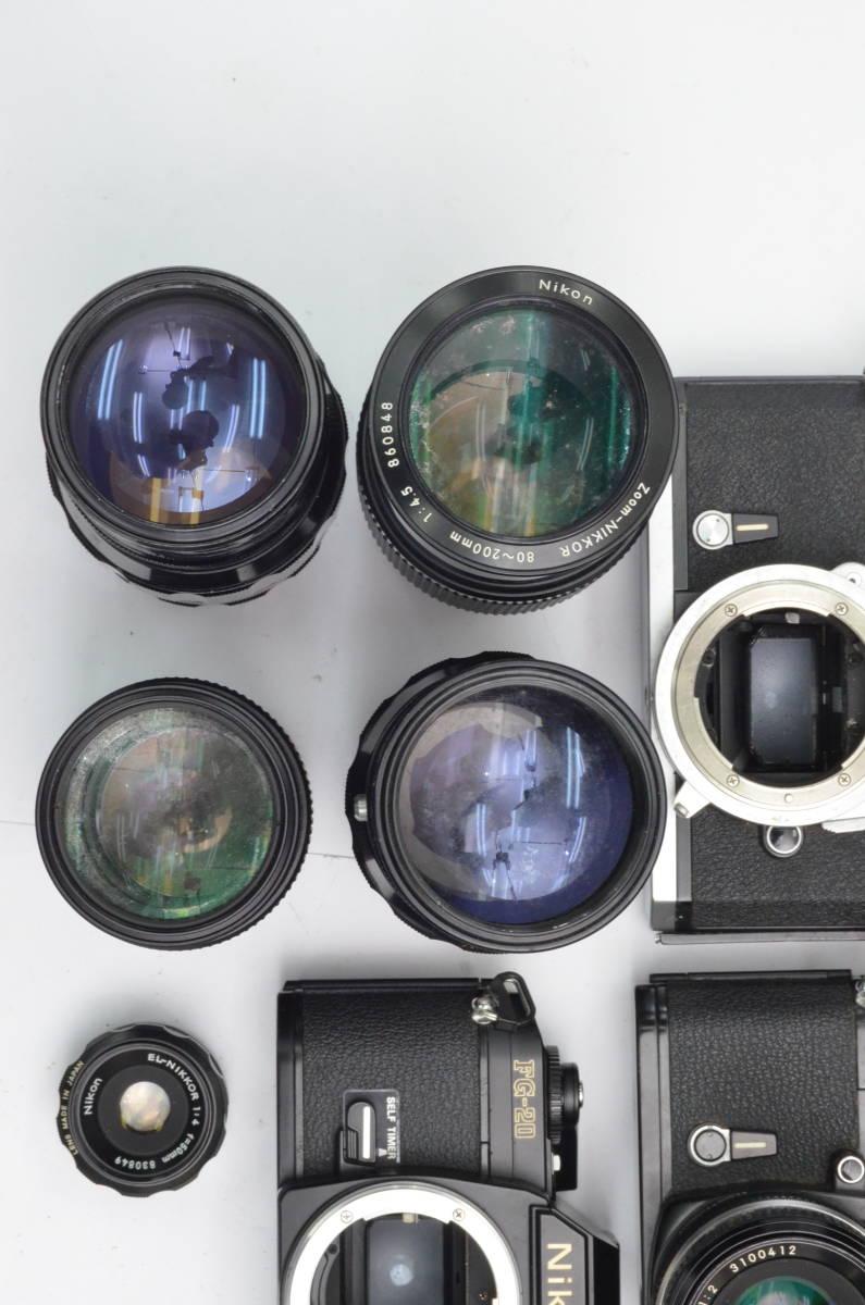 S60 Nikon ニコン FA FT2 F3 FG-20 EL FTN 等 一眼レフカメラ フィルムカメラ レンズ など まとめて おまとめ 大量セット_画像6