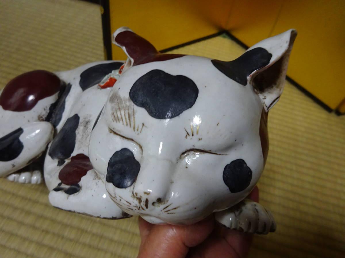 耳をそばだてて眠る古い大きなブチ猫(陶器)河村目呂二の猫_画像4