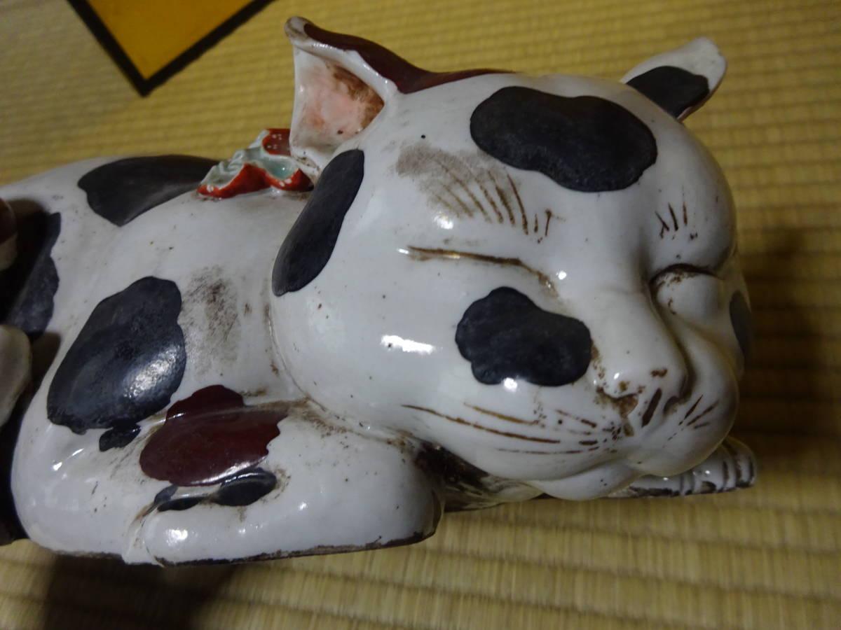 耳をそばだてて眠る古い大きなブチ猫(陶器)河村目呂二の猫_画像5