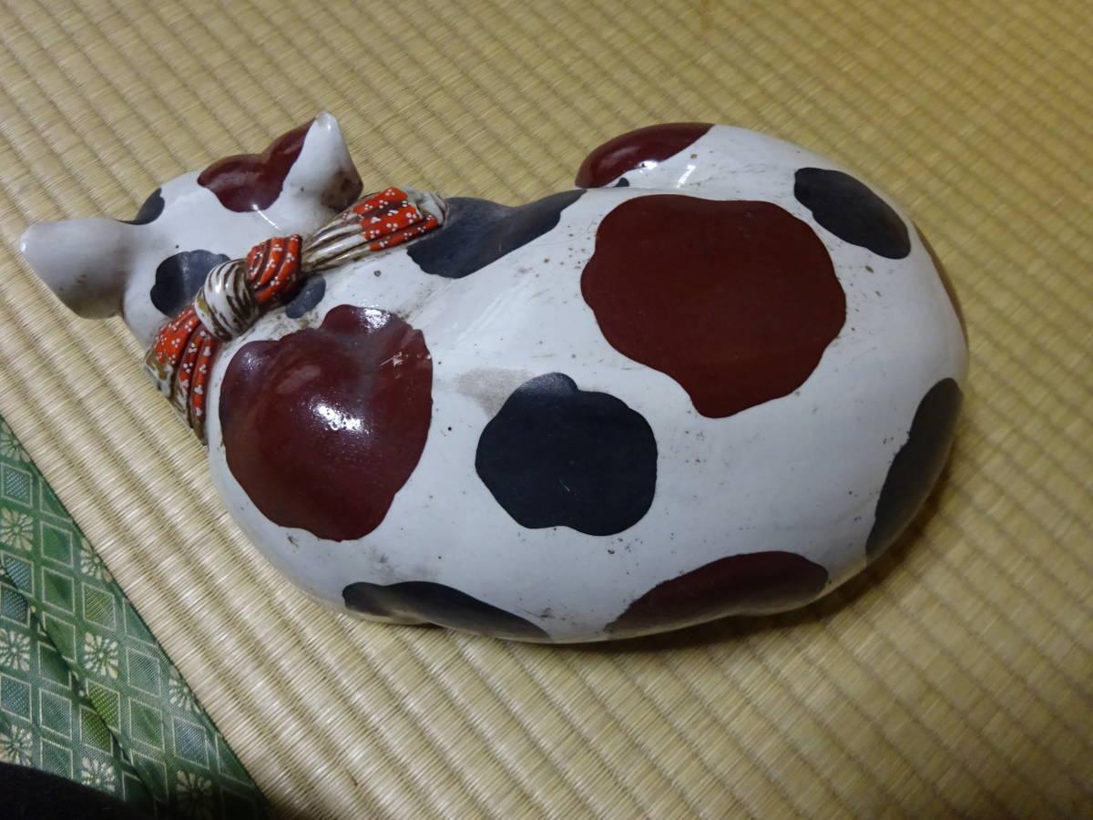耳をそばだてて眠る古い大きなブチ猫(陶器)河村目呂二の猫_画像7