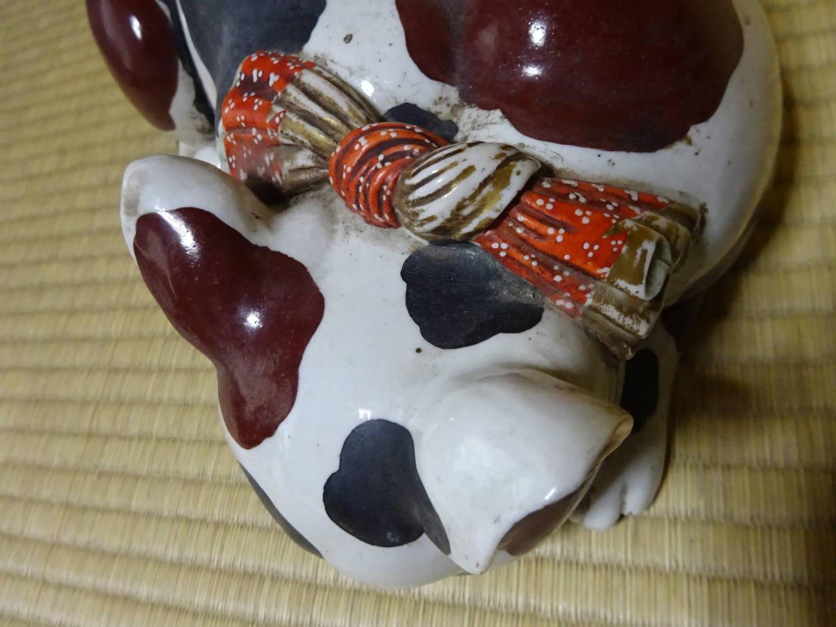 耳をそばだてて眠る古い大きなブチ猫(陶器)河村目呂二の猫_画像8