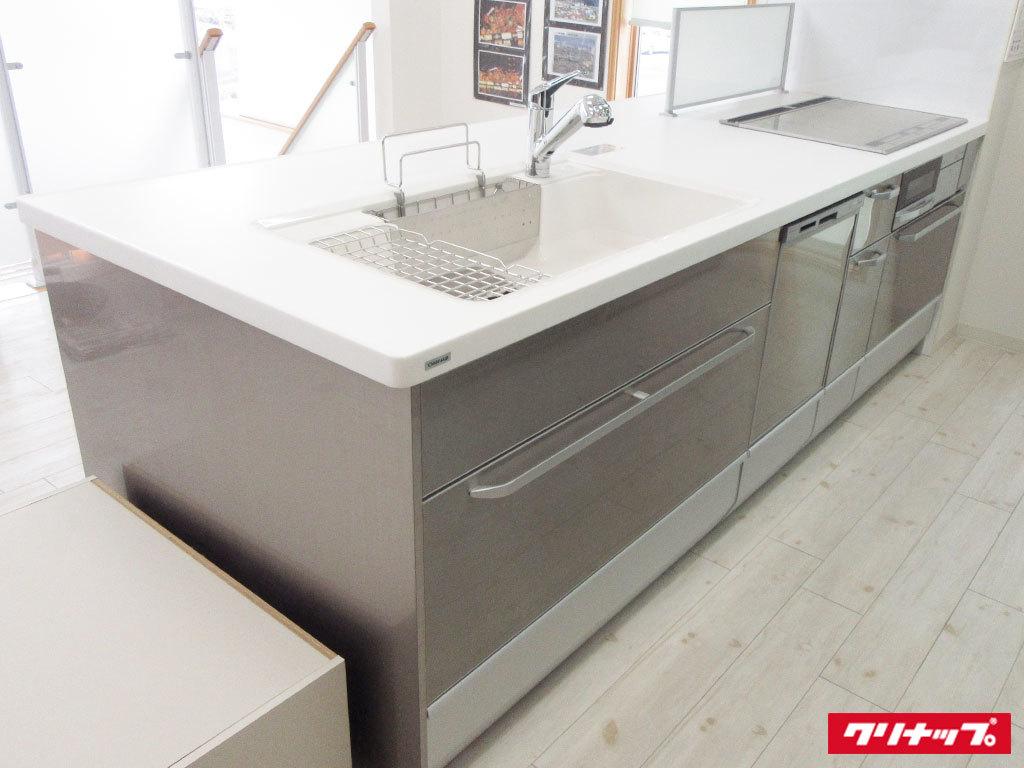 N0083【展示未使用品】クリナップ 最高級対面システムキッチン/食器洗い洗浄機付/ステン