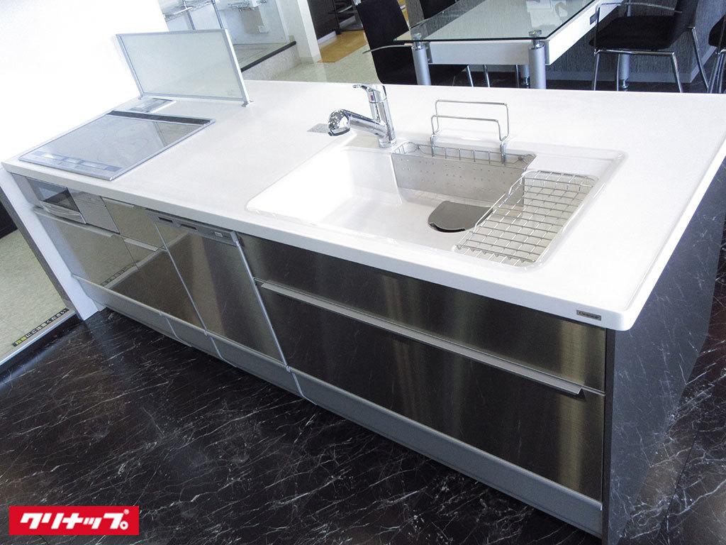 N0326【展示未使用品】クリナップ 最高級対面システムキッチン/食器洗い洗浄機/ステンレ