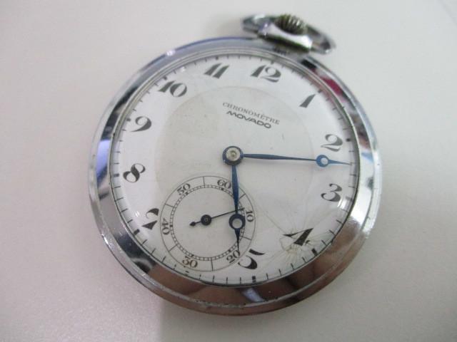 4682◆MOVADO モバード 懐中時計 クロノメーター 15石 稼働品 アンティーク 手巻き