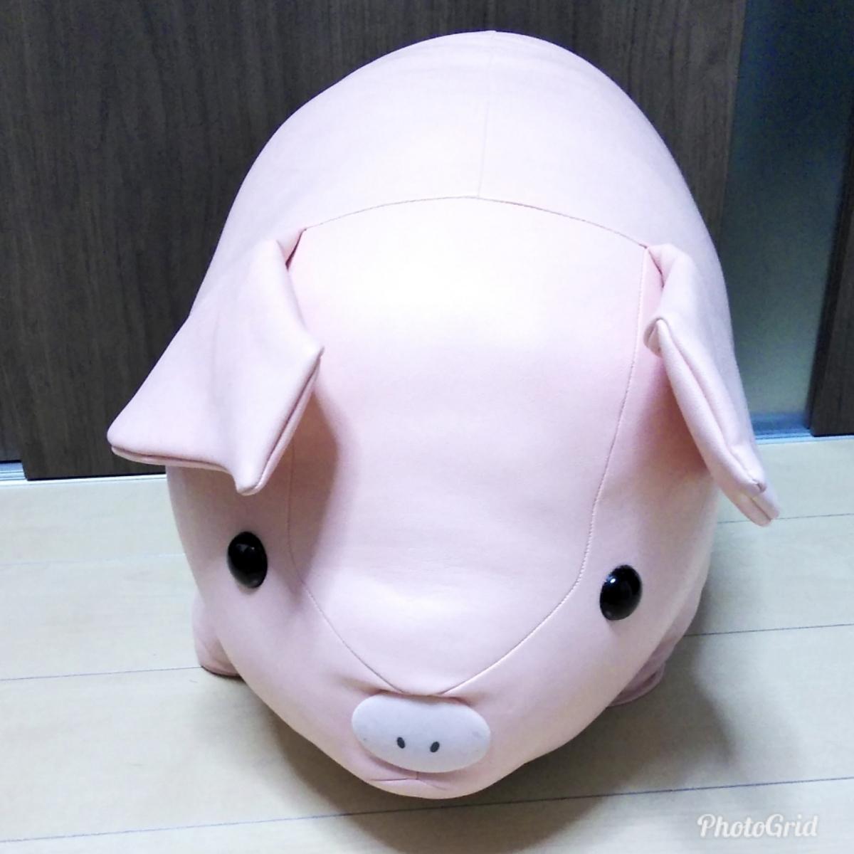 Francfranc ブタ ぬいぐるみ ビッグサイズ レザー調 フランフラン ジャンボ ピッグ 豚 人形