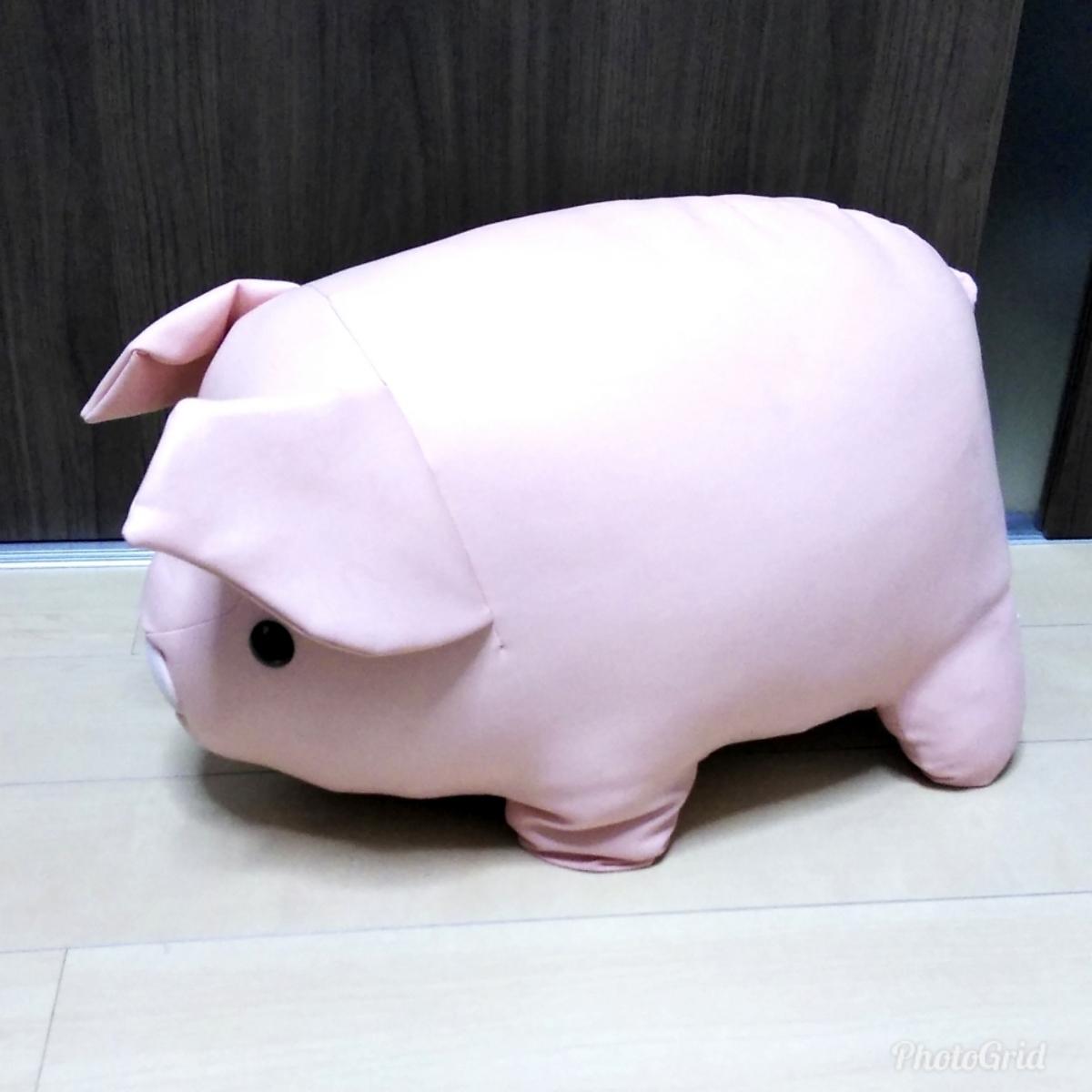 Francfranc ブタ ぬいぐるみ ビッグサイズ レザー調 フランフラン ジャンボ ピッグ 豚 人形_画像2