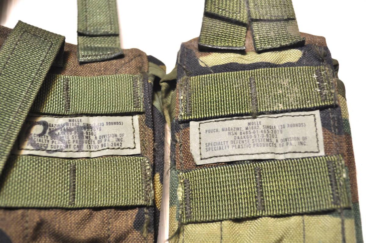 米軍放出品 実物 USMC 米海兵隊 US ARMY ウッドランド 迷彩 M4 M16 5.56mm 30連 シングルマガジンポーチセット FSBE RECON_画像3