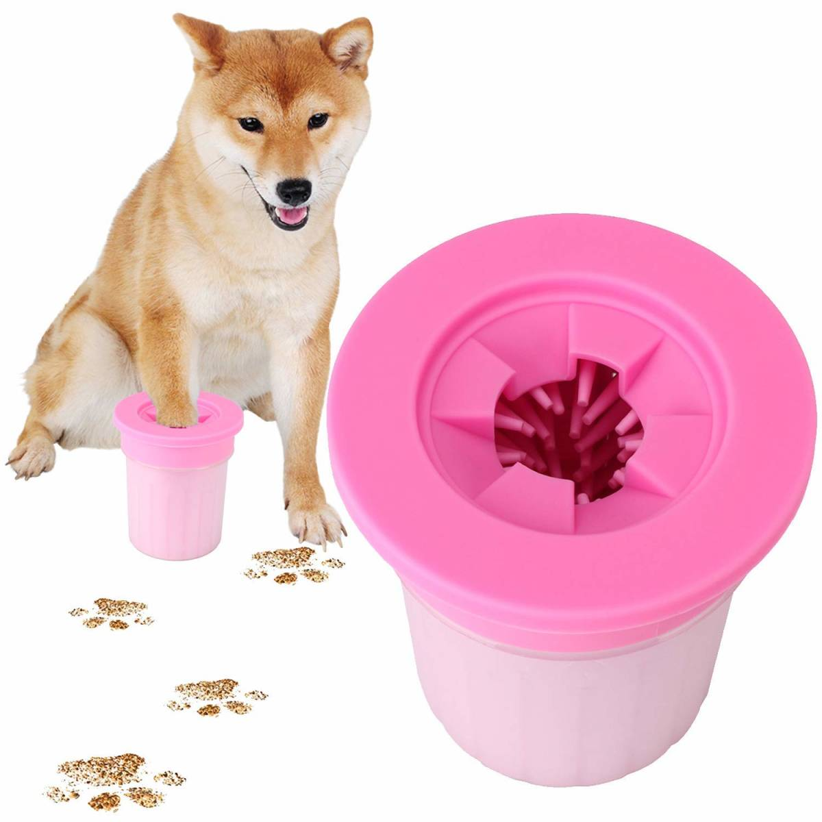 室内犬いぬ犬イヌ足洗いブラシカップ猫ペットドアuserに足用クリーナー清浄力3倍愛犬のお散歩帰り足洗いS-M小型/中型犬用 足の裏シャンプー_画像1