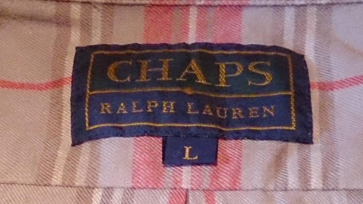 90s CHAPS RALPH LAUREN チャップス ラルフ・ローレン カジュアルシャツ 長袖 ボタンダウン チェック柄 L・実測身幅約62cm※USED/1997年品_首タグにRALPH LAURENの文字があります