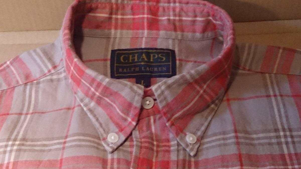 90s CHAPS RALPH LAUREN チャップス ラルフ・ローレン カジュアルシャツ 長袖 ボタンダウン チェック柄 L・実測身幅約62cm※USED/1997年品_CHAPS RALPH LAURENのカジュアルシャツです
