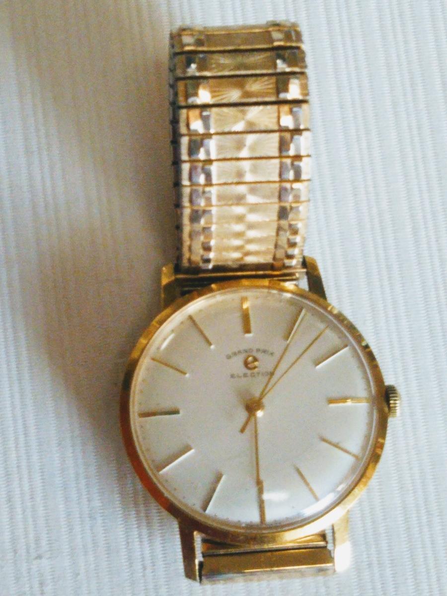 稼働品 ★ GRAND PRIX ELECTION 腕時計 手巻き メンテナンス済 ★ ベルト TOEI CROWN K14GF ★ メンズ 昭和 レトロ拍卖