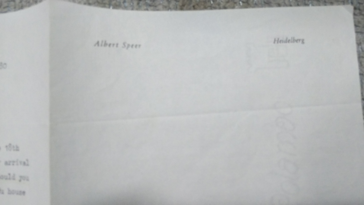 即決★ヒトラー・ナチス第三帝国建築総監アルベルト・シュペーアALBERT SPEER自筆サイン入書簡(死去前年)COA付属_画像5