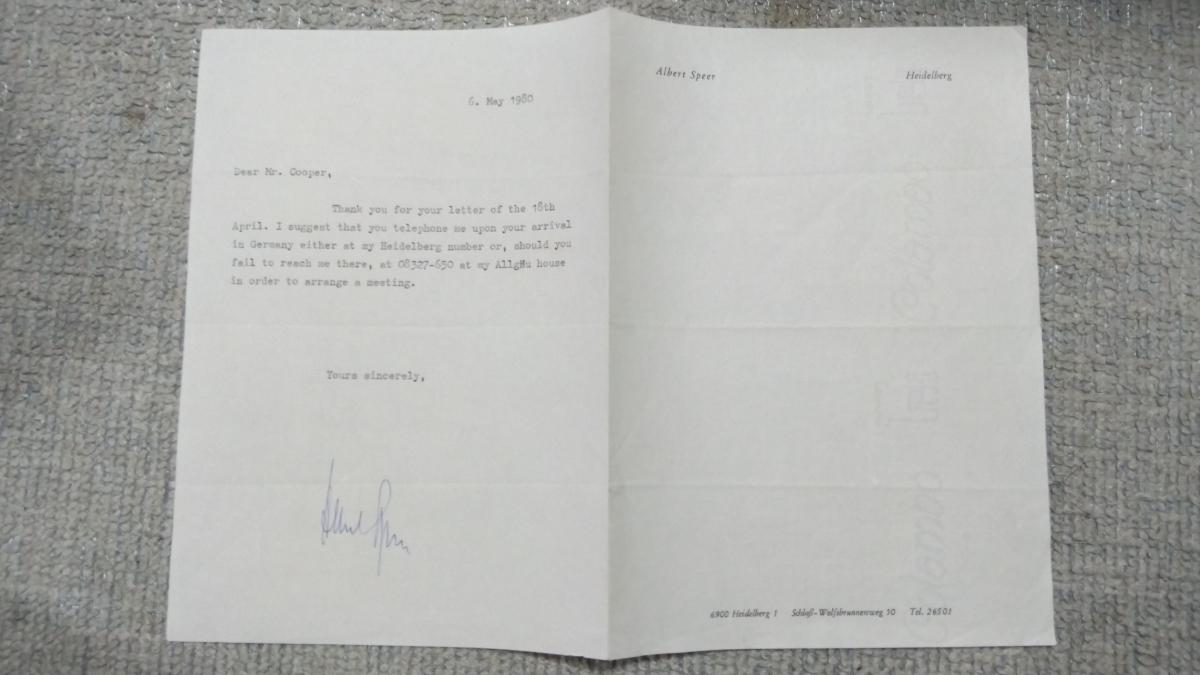 即決★ヒトラー・ナチス第三帝国建築総監アルベルト・シュペーアALBERT SPEER自筆サイン入書簡(死去前年)COA付属_画像4