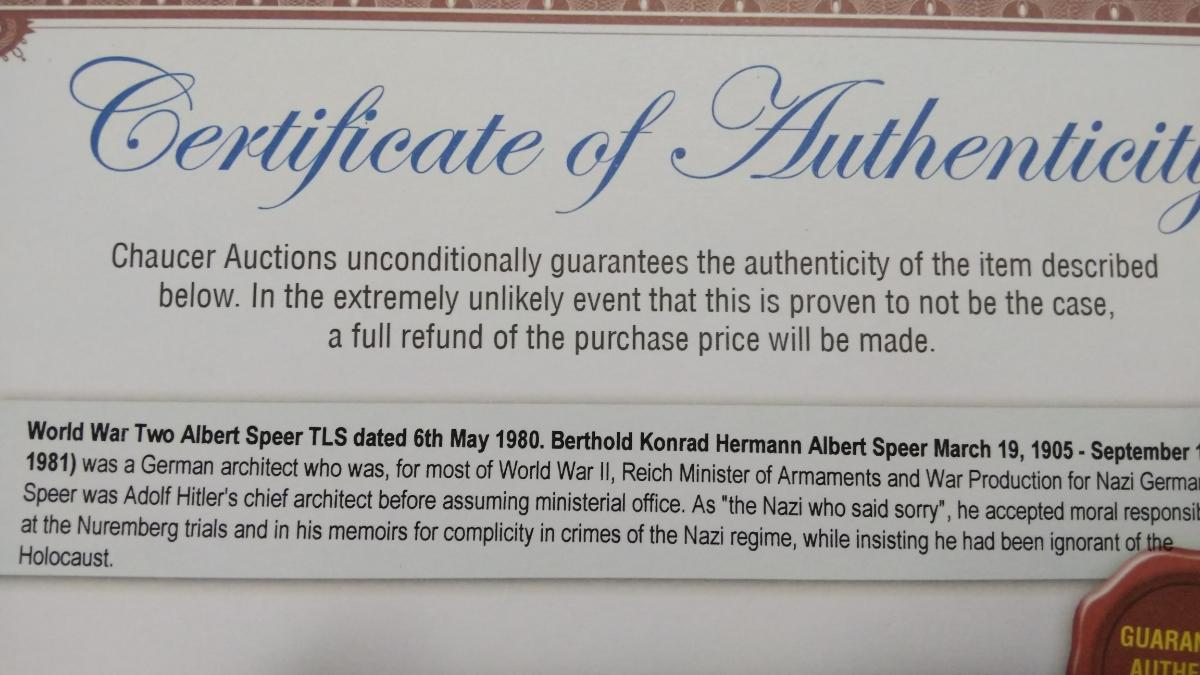 即決★ヒトラー・ナチス第三帝国建築総監アルベルト・シュペーアALBERT SPEER自筆サイン入書簡(死去前年)COA付属_画像10