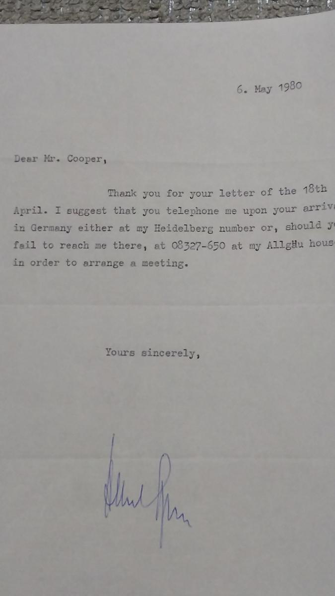 即決★ヒトラー・ナチス第三帝国建築総監アルベルト・シュペーアALBERT SPEER自筆サイン入書簡(死去前年)COA付属_画像8