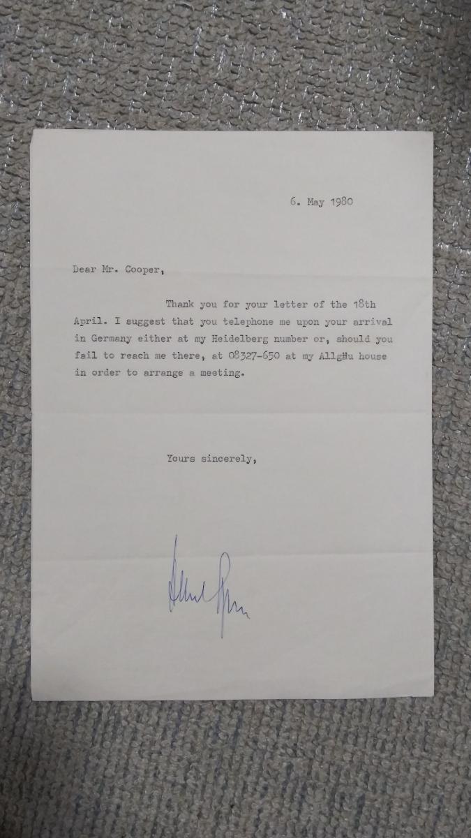 即決★ヒトラー・ナチス第三帝国建築総監アルベルト・シュペーアALBERT SPEER自筆サイン入書簡(死去前年)COA付属_画像1