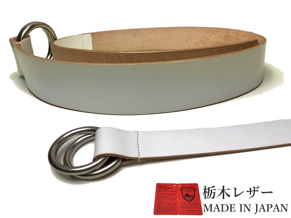 新品 栃木レザー Wリングベルト 日本製 高級 本革 白 牛革 メンズ レディース 国産 40mm カジュアル W001WH_画像2