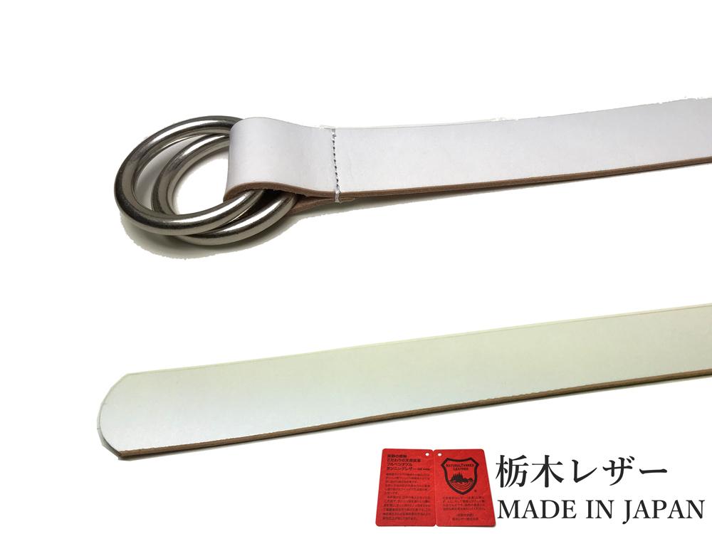 新品 栃木レザー Wリングベルト 日本製 高級 本革 白 牛革 メンズ レディース 国産 40mm カジュアル W001WH_画像3