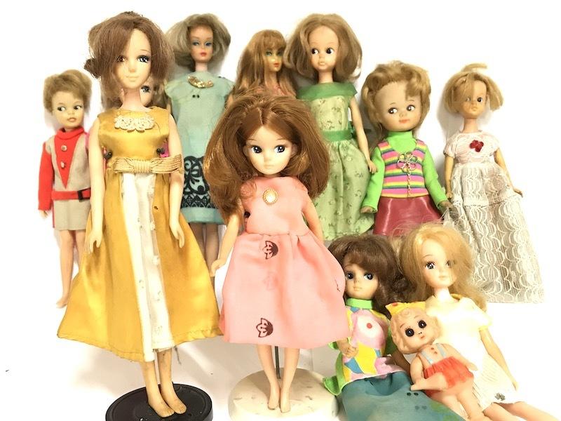 ① 1円 レトロ 着せ替え人形 まとめて12体セット スタンド付き TAKARA刻印入り有 リカち