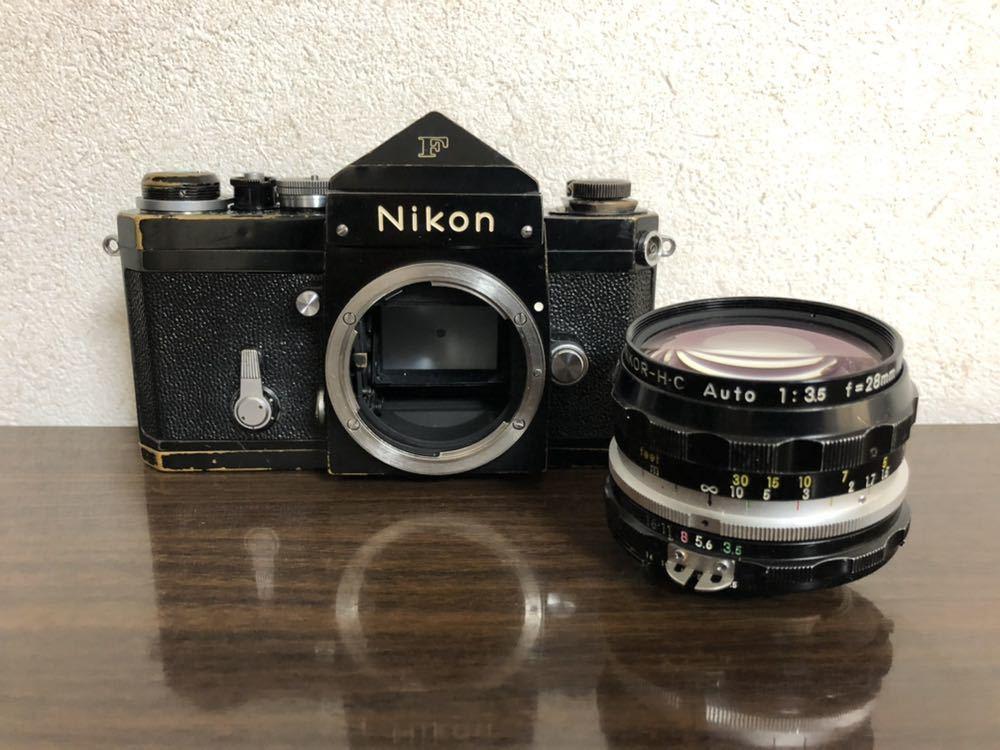 希少 ブラック Nikon F NIKKOR-H・C Auto 28mm f3.5 アイレベルファインダー ニコンF 黒 ニッコール 単焦点レンズ セット 現状品_画像3