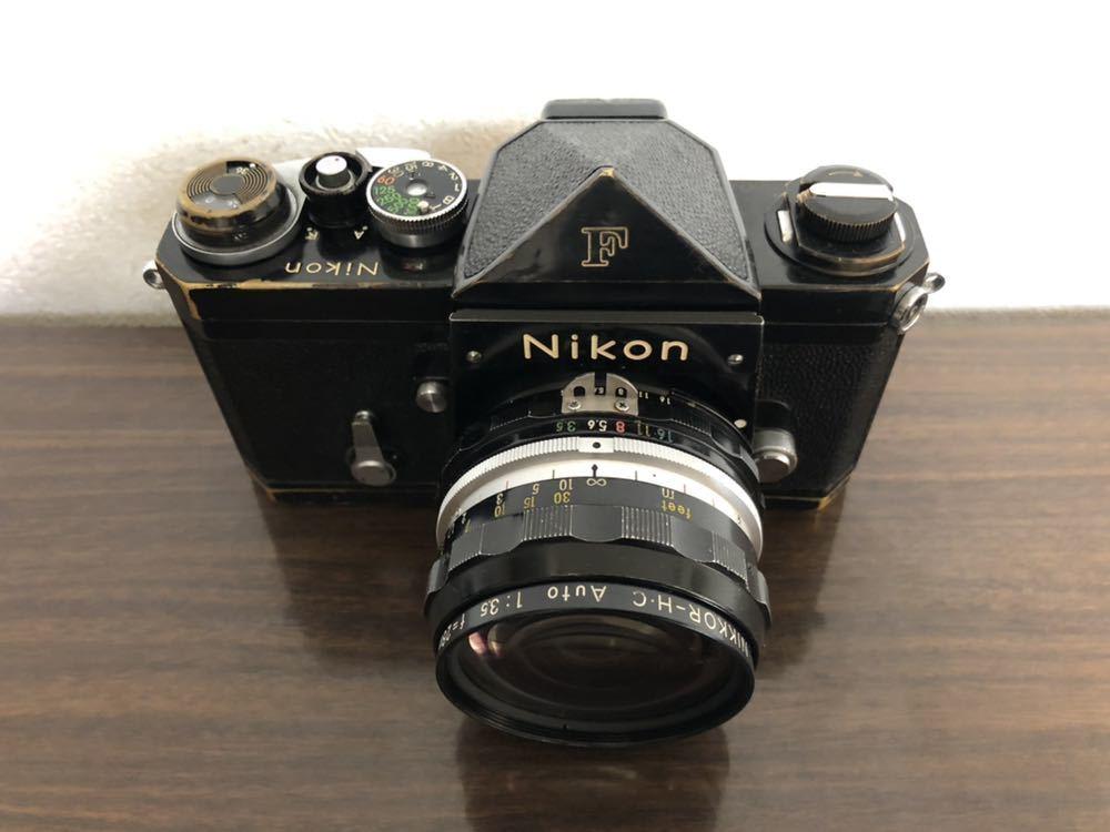 希少 ブラック Nikon F NIKKOR-H・C Auto 28mm f3.5 アイレベルファインダー ニコンF 黒 ニッコール 単焦点レンズ セット 現状品_画像2
