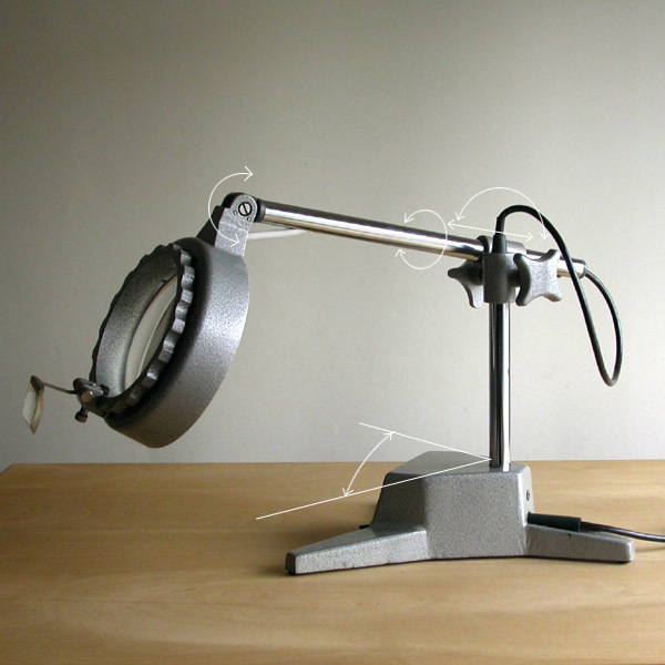 Vintage desk magnifying glass lamp (LED lamp specification . modification ending )1970 period Made in DDR old East Germany / clock tool magnifier industry series lighting