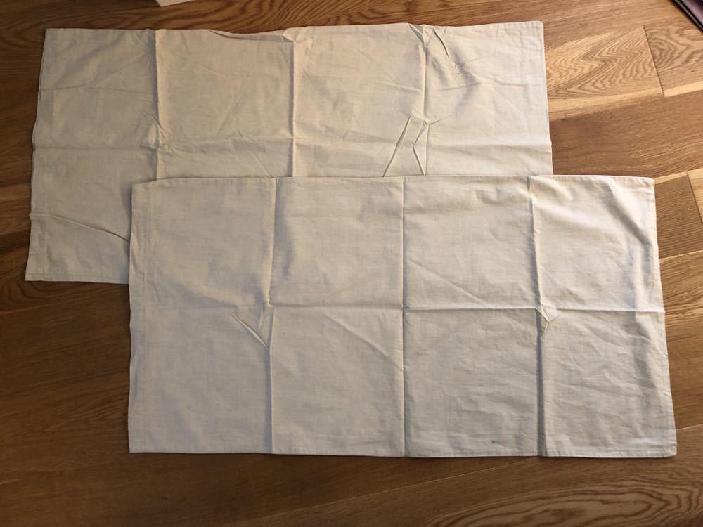 ☆美品・送料込み☆ USED 無印良品 枕カバー 2枚セット ライトグリーン c1