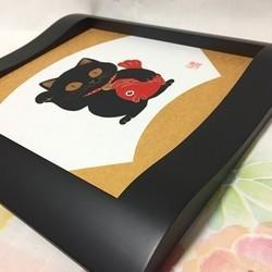 【原画】黒猫の招き猫/色紙額入り_画像2