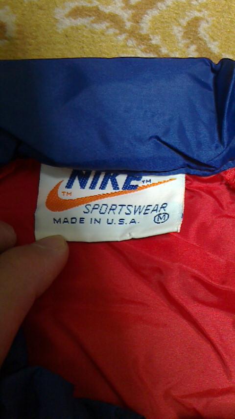 NIKE ナイキ ナイロンJKT レッド×ネイビー オレンジスウォッシュ USA製 Mサイズ ビンテージ USED 古着_画像4