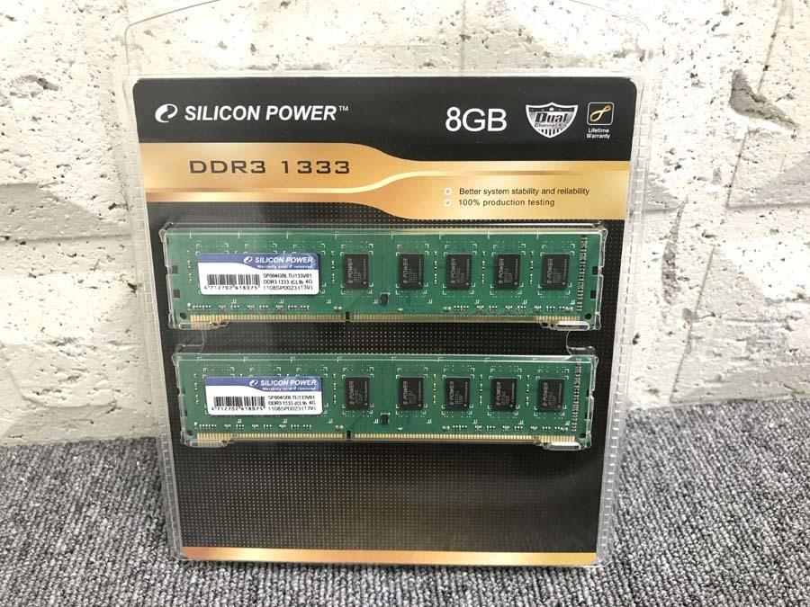 【送料無料1円~♪】メモリ 4GBx2 8GB DDR3-1333(CL9)SP004GBLTU133V01 シリコンパワー 未開封品 1107-3