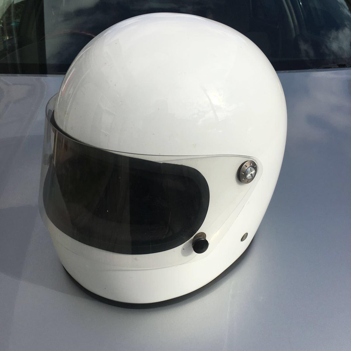族ヘル 使用回数少 フルヘェイス ヘルメット / 初期 型 マッハ にて使用 / サイズは極端に小さく無いのでフリーサイズかな?_画像2