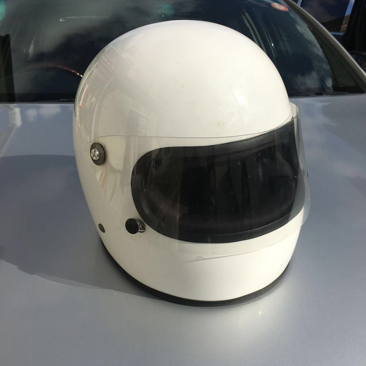 族ヘル 使用回数少 フルヘェイス ヘルメット / 初期 型 マッハ にて使用 / サイズは極端に小さく無いのでフリーサイズかな?_画像1