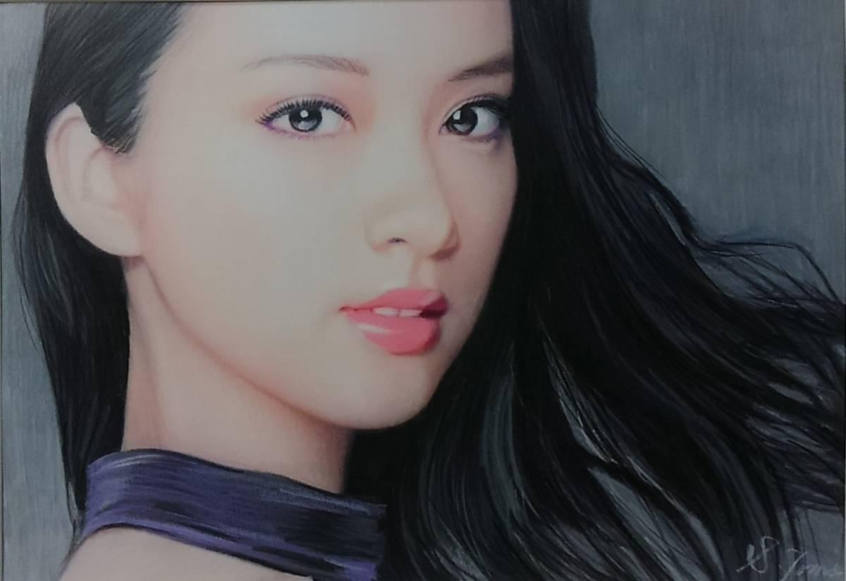 『作品651』S.Tomo氏直筆色鉛筆画 超美品 美人画 新品額装