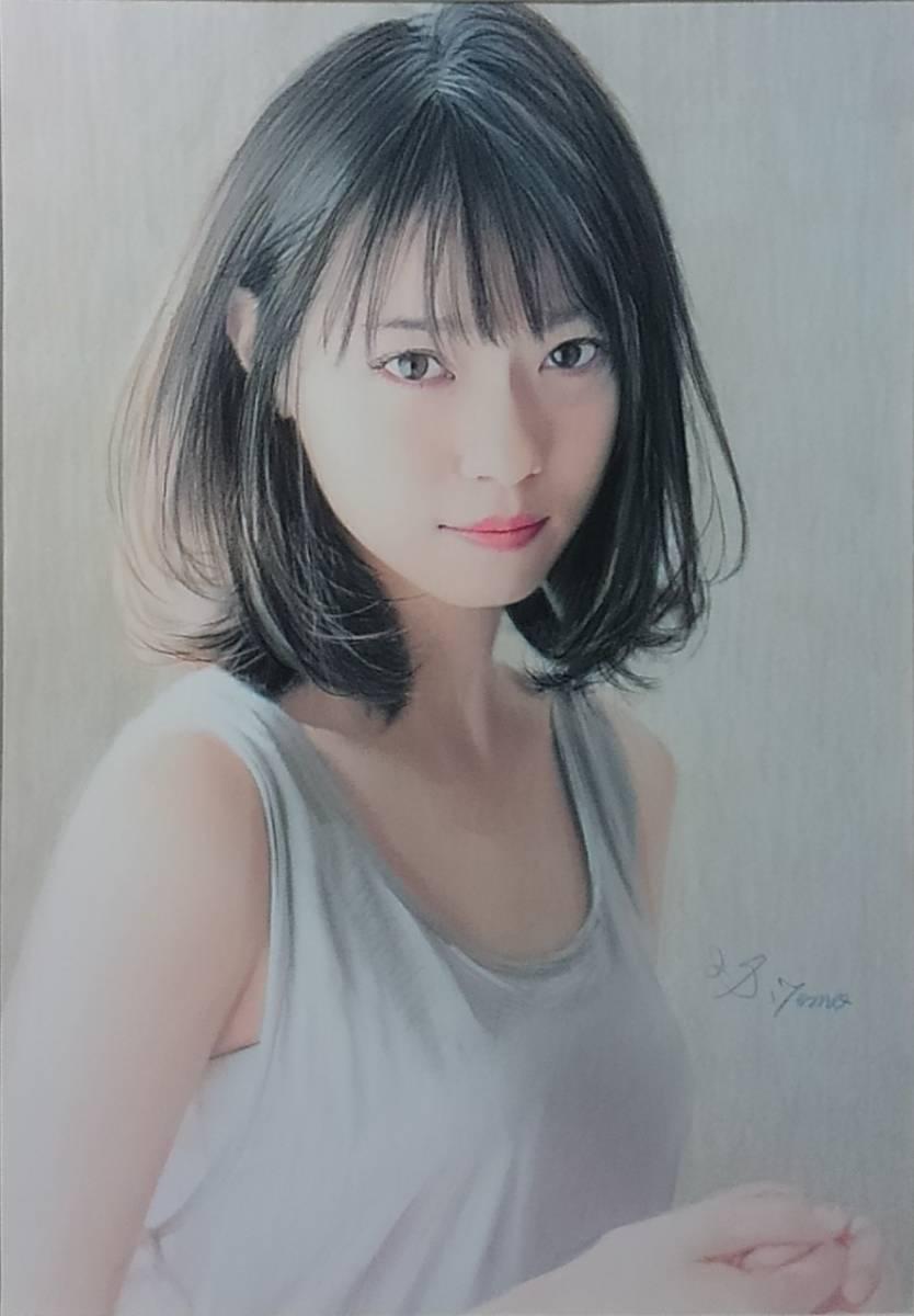 『作品633』S.Tomo氏直筆色鉛筆画 超美品 美人画 新品額装