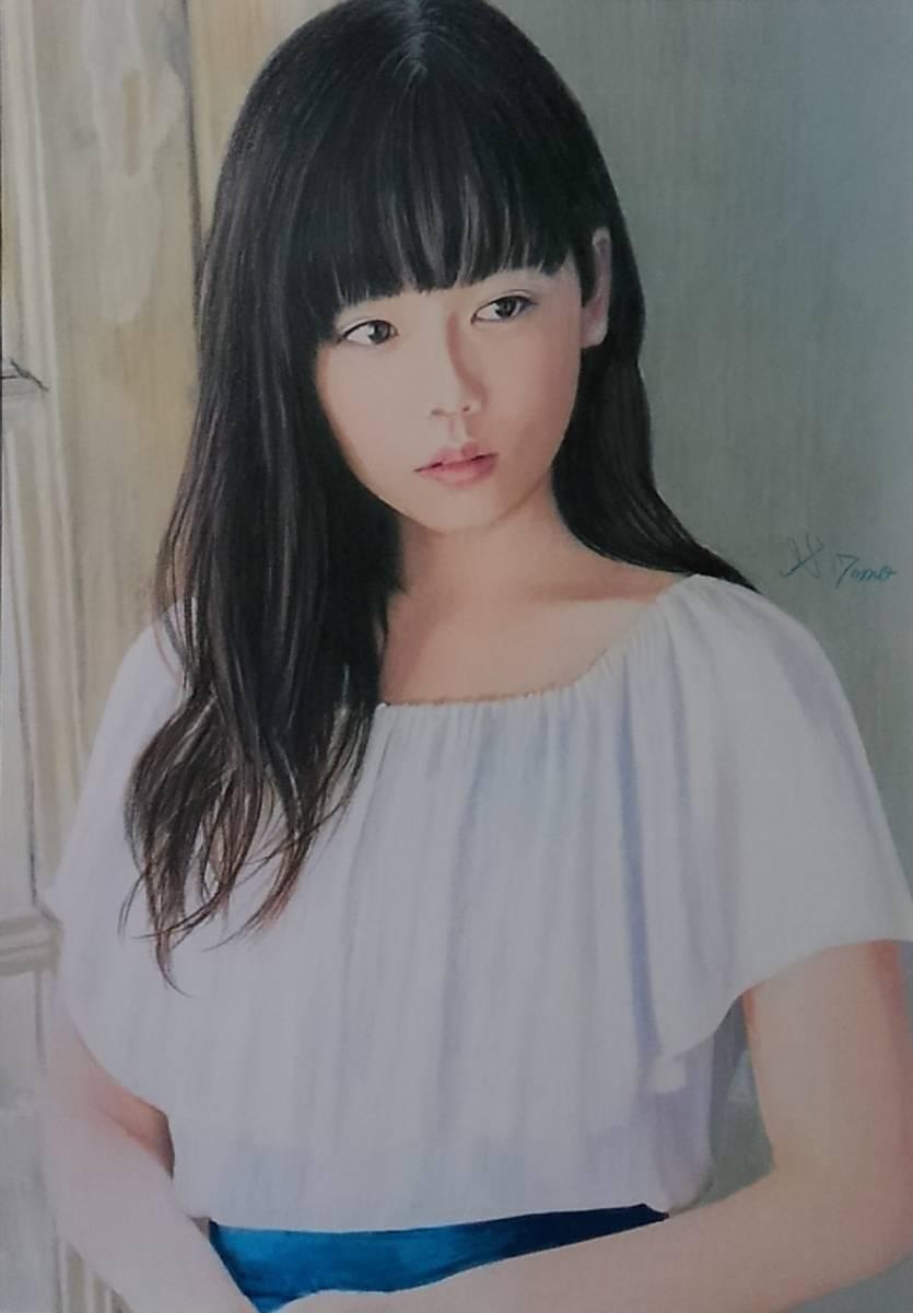 『作品648』S.Tomo氏直筆色鉛筆画 超美品 美人画 新品額装
