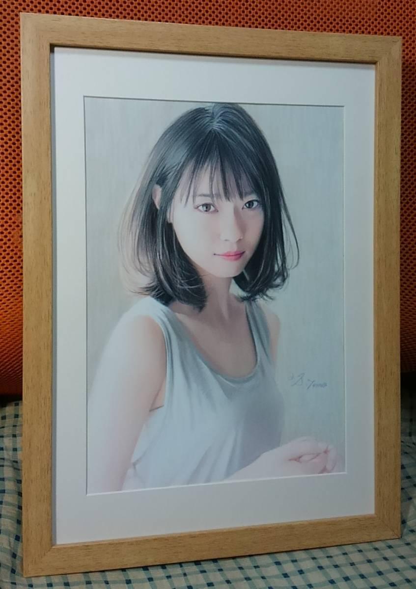 『作品633』S.Tomo氏直筆色鉛筆画 超美品 美人画 新品額装_画像4