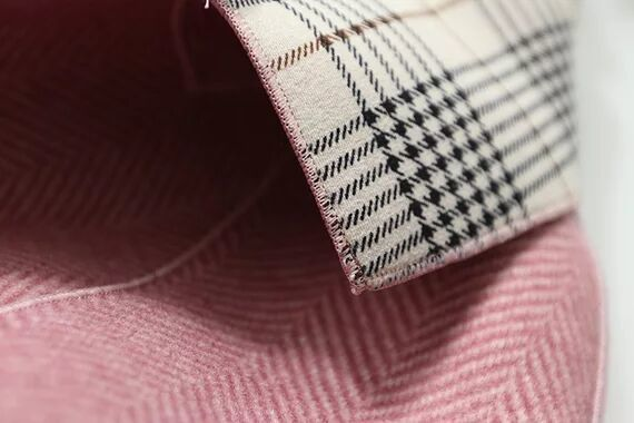 popular new goods * color scheme check coat long height double button pink XL