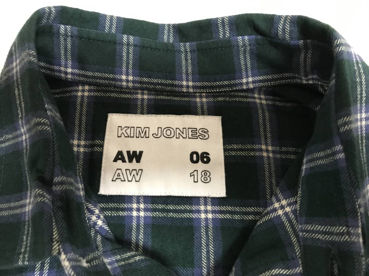 GU(ジーユー) - KIM JONES(キム・ジョーンズ) MEN フランネルチェックカラーブロックシャツ(KJ) L 緑 (即日完売大人気商品・新品未着用品)_画像2