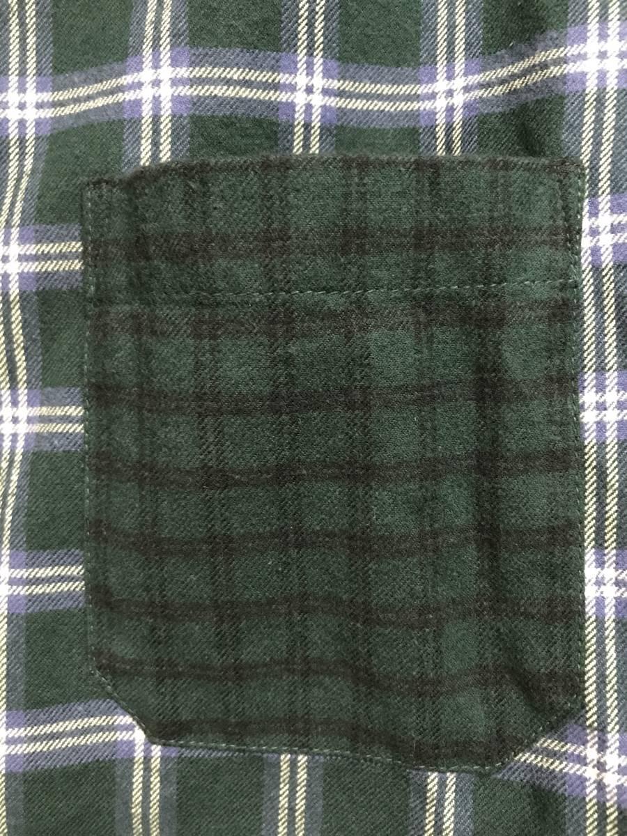 GU(ジーユー) - KIM JONES(キム・ジョーンズ) MEN フランネルチェックカラーブロックシャツ(KJ) L 緑 (即日完売大人気商品・新品未着用品)_画像3