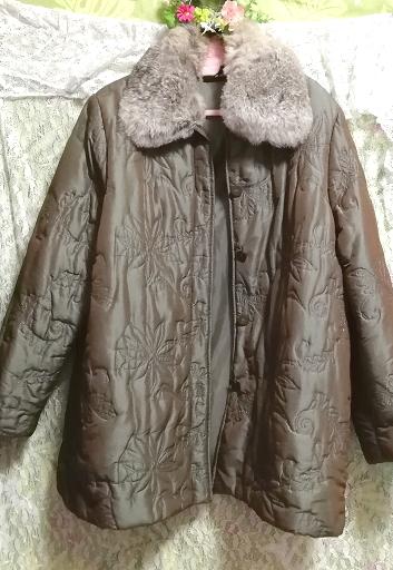 オリーブグリーンラビットファー光沢ロングコート/羽織/アウター/カーディガン Olive green rabbit fur glossy long coat/outer/cardigan_画像3